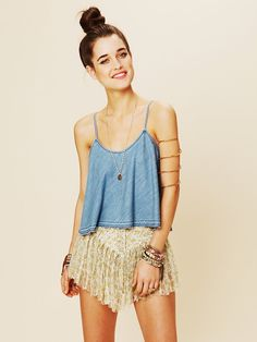 Boho Chic via Tumblr--a denim cami with lace shorts & a top knot