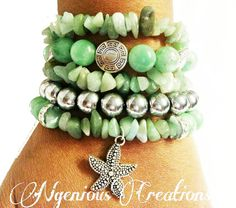 N'Genious Creations Exclusive Green Gemstone Bracelet Set by NGeniousCreations, $65.00