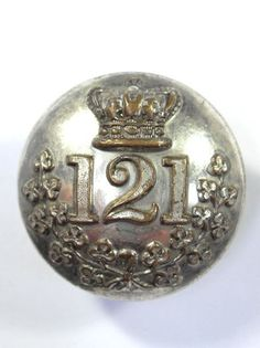 Irish: 121st (Monaghan) Regiment of Militia Victorian Officers Large Button.