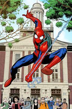 #Spider-Man #Fan #Art. (Spider-man Promo Poster Art) By: Sean Chen. ÅWESOMENESS!!!™ ÅÅÅ+(STAY IN SCHOOL!!!)