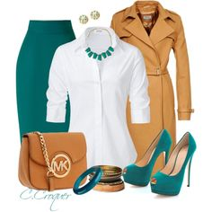 Camel & Aqua, I have this outfit now, Shoes and Coat from Old Navy. Necklace from Style Encore. Chic Outfits, Skirt Outfits, Fashion Outfits, Womens Fashion, Fashion Trends, Green Outfits, Fashion Inspiration, Office Fashion, Business Fashion
