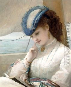 A Girl Reading in a Sailing Boat, 1869, a painting by Alfred Chantrey Corbould