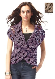 Crocheted Circular Vest. Large Crochet interlocking circles edge the vest. Ties and a hidden snap in the front.