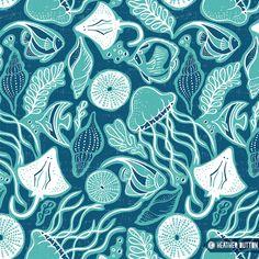 Colorful fabrics digitally printed by Spoonflower - Sea Life - Navy Blue & Aqua Ocean Fabric, Tropical Fabric, Lilly Pulitzer Iphone Wallpaper, Meer Illustration, Sea Life Art, Sidewalk Chalk Art, Sea Crafts, Under The Sea, Textures Patterns