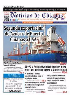 #HoyEnPortada Segunda exportación de Azúcar de Puerto Chiapas a USA,