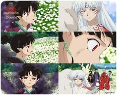 Kagura, realizing Sesshomaru was actually rushing to see her and not to get Naraku - screenshots from InuYasha: The Final Act