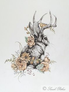 Jackalope 11 x 14 floral jackalope rabbit art от NestandBurrow