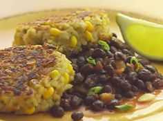 Rice & Corn Cakes with Spicy Black Beans Recipe | Just A Pinch Recipes