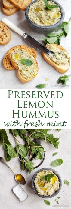 vegan recipes Preserved Lemon & Mint Hummus is fresh, tasty and delightfully healthy. Preserved Lemon & Mint Hummus is fresh, tasty and delightfully healthy. Lively citrus and herb flavours make this a morish snack, lunch or party nibble. Mint Recipes, Healthy Recipes, Healthy Appetizers, Appetizer Recipes, Healthy Snacks, Vegetarian Recipes, Cooking Recipes, Healthy Hummus, Lemon Recipes Easy