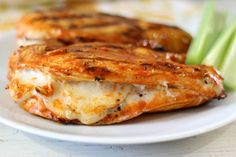 Grilled spicy chicken breast stuffed with mozzarella cheese.