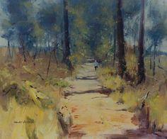 Colley Whisson A Sunlit Bush Road, Aust Oil painted 2003 12'' x 14''