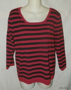 Womens Chico's Design Knit Top 2 L Large Red Black Striped 3 4 Sleeve | eBay