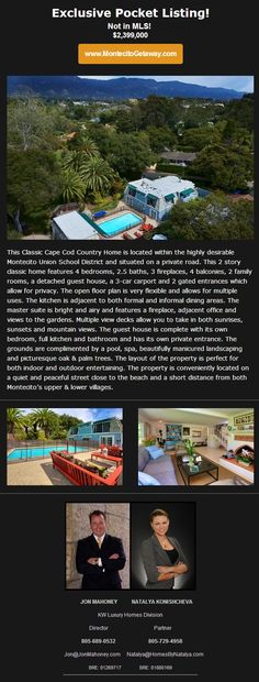 Exclusive Pocket Listing! This Will Not Last long! Call me to get in before it disappears! 805-689-0532 Jon Mahoney #SantaBarbara #Montecito #RealEstate