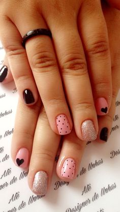 Cute Nail Art Designs For Short Nails 2019 Page 13 Cute Nail Art Designs, Simple Nail Designs, Acrylic Nail Designs, Acrylic Nails, Fancy Nails, Pink Nails, Cute Nails, Pretty Nails, My Nails
