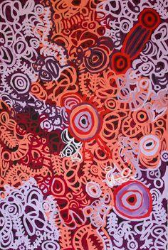 Anyupa Stevens, Tjala Tjawani, 150 x 100 cm Tjungu Palya, APY Lands. For more Aboriginal art visit us at www.mccullochandmcculloch.com.au #aboriginalart #australianart #contemporaryart
