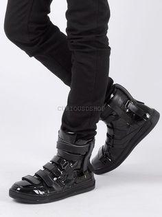 Nuevo Para Hombre Lumiere patente Multi Correa De Velcro Zapatillas Botita  De Cuero Negro 8f6c5f2cba0