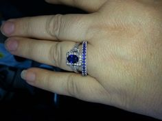 Sapphire rings. Not they style or color. It's the idea of a colored set.