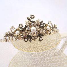 Antique brass Bridal tiara, Vintage style Bridal tiara, Bridal headband, Swarovski crystal tiara, Wedding hair accessory