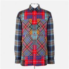 a5b2b9e1ba5 Blue Tartan Patchwork Wool Shirt