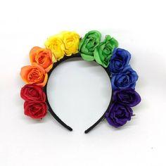 Gay Pride LGBTQA+ Rainbow Rose Flower Headband Flower Crown ($20) ❤ liked on Polyvore featuring accessories, hair accessories, floral crowns, hair band accessories, rose garland, flower hair accessories and flower garland