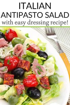 This easy antipasto salad and Italian dressing recipe is perfect for a quick no-cook lunch or weeknight dinner. It's a healthy recipe that can be pulled together in just a few minutes! Keto, paleo, low carb, Whole30 and gluten-free, it's a perfect no-cook dinner!