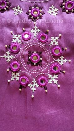 Handmade Embroidery Designs, Embroidery Neck Designs, Hand Embroidery Videos, Hand Embroidery Tutorial, Hand Work Embroidery, Creative Embroidery, Hand Embroidery Stitches, Diy Embroidery, Embroidery Suits