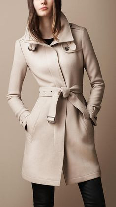 Belted Collar Wool Coat   Burberry