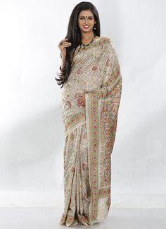 Beautiful Beige Pure Tussar Silk Kantha Saree