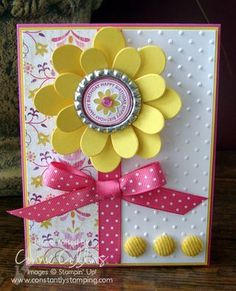 Connie Collins: Constantly Stamping: Smashed Bottle Cap Flower - 5/17/10