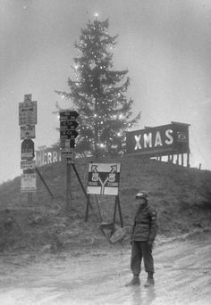 Us Fifth Army In Italy, Lighted MERRY XMAS sign behind 65-ft. Christmas tree lit up by Italian bulbs strung up by Special Services & the 53rd Signal Battalion at the top of Radicosa Pass at 2500 ft. elevation direction signs to Bologna as Amer. MP stand guard, in the Appennine M .. Italy December 18, 1944 Margaret Bourke-White