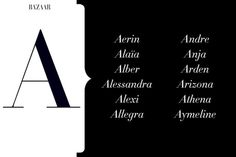names From Aerin to Yves, the chicest monikers of the style set. Moms-to-be, take note. Names Starting With A, Baby Girl Names Unique, Unique Names, Mexican Babies, A Child Is Born, Second Child, Character Names, Character Ideas, Character Inspiration