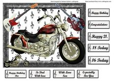 Ride with the Wind Electric Guitar Music card topper on Craftsuprint designed by Barbara Hiebert - This is a quick and easy card topper, just print, and cut around, and use your favorite method to attach to a finished card, and add embellishments if you want them. I have included a variety of sentiment tags. - Now available for download!