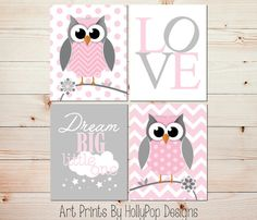 Pink Gray Nursery Art Prints Owl Wall Decor Owl by HollyPopDesigns