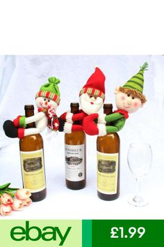 Wine Bottle Covers Realistic 1pcs Table Decorations Wine Bottle Cover Ornament Wedding Table Decorations Novelty Decoration Snowman Santa Clause Lovely Hug
