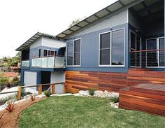 Warm timber tones, natural corrugated iron and deep grey-blues are the perfect scheme for a contemporary beach house. House Cladding, Exterior Cladding, Facade House, House Exteriors, Exterior Color Schemes, Exterior House Colors, Modern Exterior, Exterior Design, Exterior Paint