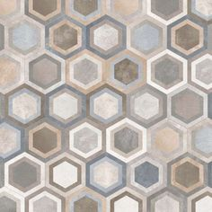 Cementine esagonali per il bagno - Piastrella esagonale con decoro geometrico - hexagonal cement tiles with geometric decoration