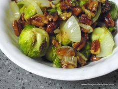 Roasted Brussel Sprouts with Pecan Vinaigrette (Sub coconut oil for olive oil.)