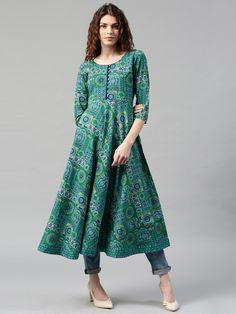 Buy Libas Women Blue & Green Printed Anarkali Kurta - Kurtas for Women   Myntra