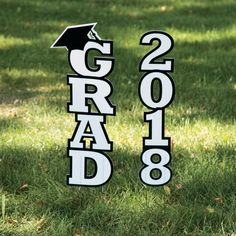 5b31222258e0 This 2018 Grad Yard Sign is a perfect graduation party decoration that lets  guests know where to find the party and is great .
