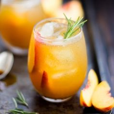 Rosemary, peach, and maple leaf cocktail with rye whiskey and smoked sea salt