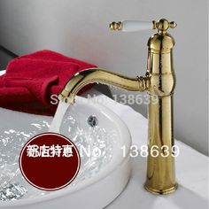 Free shipping 2014 new design luxury basin tap,deck mounted golden bathroom sink mixer faucet tap,torneira cachoeira,promotion #Affiliate