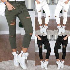 Fashion Women Ripped Holes Capri-Pants Pencil High Waist Pants Skinny Trousers