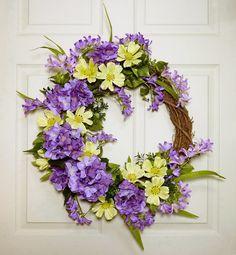Hydrangea Door Wreath Spring Door Wreath Front Door by Floralwoods