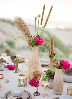 Picnic on the beach with flowers