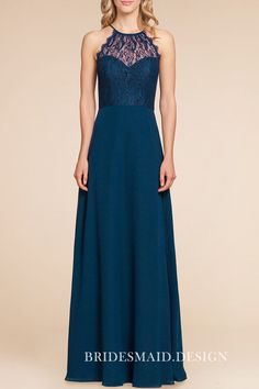 83a6abd503a4 Amazing dark teal lace and chiffon long bridesmaid dress. Sleeveless  sweetheart bodice with illusion lace