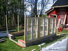 Lailas lille rede: Søkeresultat for Drivhus - Modern Old Window Greenhouse, Diy Greenhouse Plans, Backyard Greenhouse, Backyard Landscaping, Pergola, Wooden Greenhouses, Shed Homes, Cottage Style Homes, Garden Architecture
