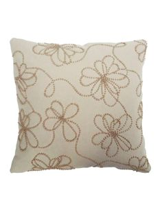 Ecru Hand Embroidered Bead Cotton Cushion Cover - 16in x 16in