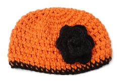 Baby Hat Orange and Black 0 to 6 months Flower by PreciousBowtique, $7.00