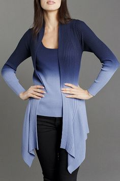 Navy Ombré Ribbed Open Cardigan & Tank