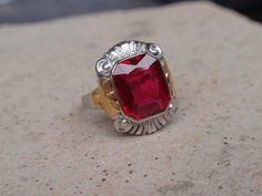 Art Deco Ruby Ring 10k Ladies Two Tone by LuceesTreasureChest